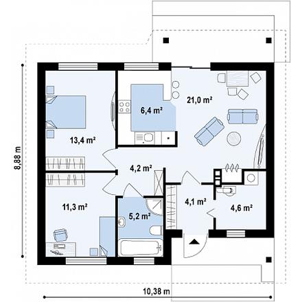 Проект загородного дома, 70 кв. метров