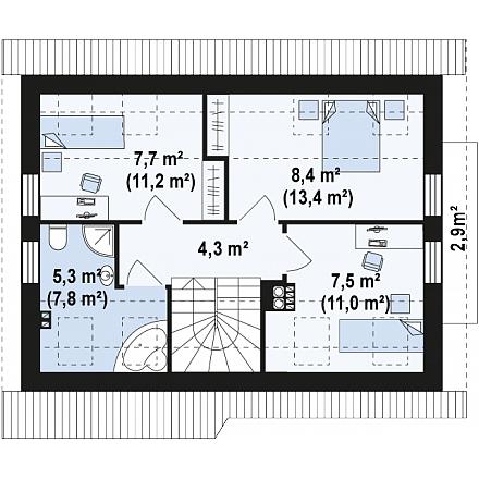 Проект загородного дома, 100 кв. м.
