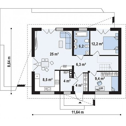 Проект загородного дома, 80,5 кв.м.