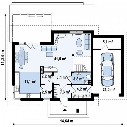 Проект загородного дома, 196 кв.м.