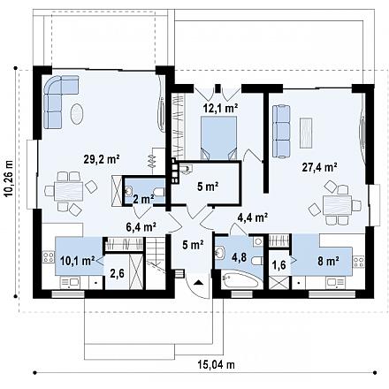 Проект загородного дома, 232 кв.м.