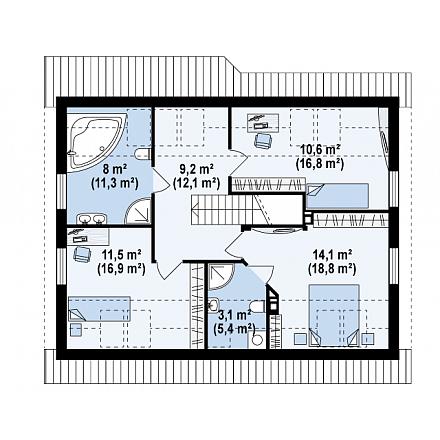 Проект загородного дома, 154 кв.м.