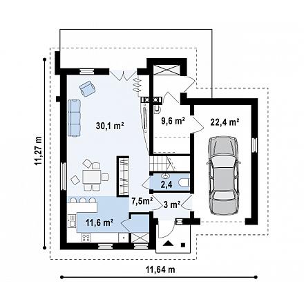 Проект загородного дома, 172 кв.м.